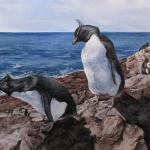 """Steep Descent"" (Rockhopper penguins). Watercolor on paper, 2013. 19 x 28 inches. ORIGINAL AVAILABLE, $1200 FRAMED."
