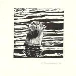 """Curiosity"" (River otter). Linocut block print, 2010. 5 x 5 inches. LIMITED EDITION, ORIGINALS AVAILABLE. $50 UNFRAMED."
