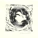 """Otter Yin/Yang."" Linocut block print, 2010. 5 x 5 inches. LIMITED EDITION, ORIGINALS AVAILABLE. $50 UNFRAMED."