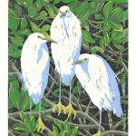 """Trio"" (Snowy egrets). Linocut reduction print, 2015. 6 x 8 inches. EDITION OF 10, ORIGINALS AVAILABLE. $200 UNFRAMED."