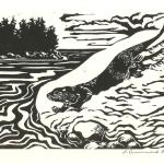 """Slide to the Sea."" Linocut block print, 2015. 6 x 8 inches."