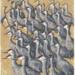 """Crowd of Cranes."" Linocut reduction print, 2015. 9 x 12 inches. EDITION OF 10, ORIGINALS AVAILABLE. $400 UNFRAMED."