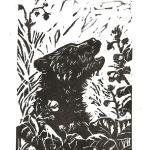 """Bear Berries."" Linocut block print, 2015. 3 x 4 inches. EDITION OF 20, ORIGINALS AVAILABLE. $25 UNFRAMED."