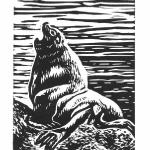 """Foghorn."" Linocut block print, 2016. 3 x 5 inches. EDITION OF 30, ORIGINALS AVAILABLE. $20 UNFRAMED."