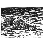 """Adrift."" Linocut block print, 2017. 3 x 5 inches. EDITION OF 30, ORIGINALS AVAILABLE. $25 UNFRAMED."