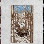 """Duck Out of Sight."" Linocut reduction print on handmade cattail paper, 2018. 8.5 x 17 inches."